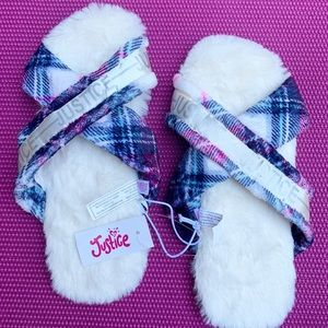 Justice Slippers Plaid Criss Cross